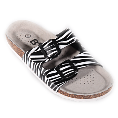 Pruhované papuče Erika čierne - 1