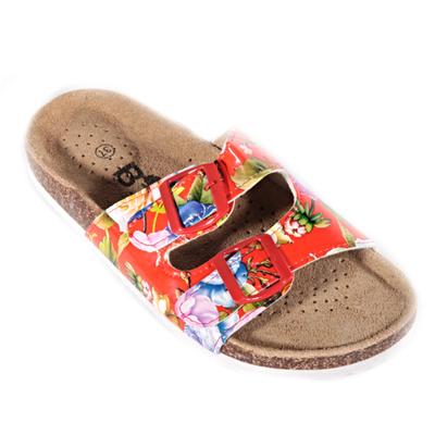 Červené korkové papuče Kvido s kvetmi - 1