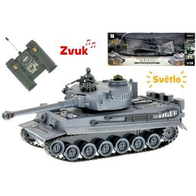 R/C šedý tank 1:28 se zvukem a světlem Henk