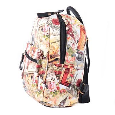 Štýlový batoh s potlačou Paris ozanžový - 1