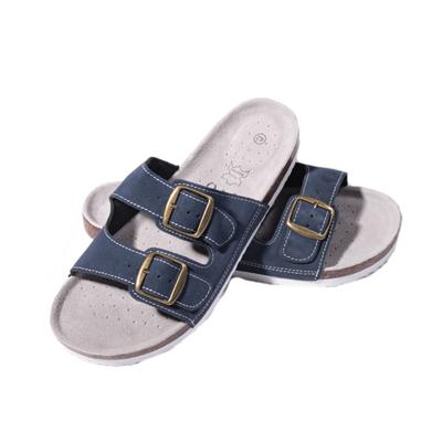 Kožené pánské korkové pantofle Dan modré