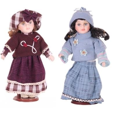 DOLL porcelánové panenky 30 cm set 2 kusů (Chloe a Eleonor)