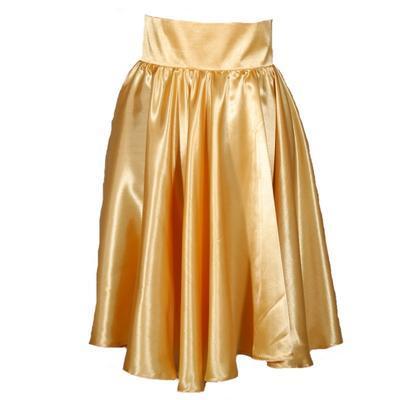 Zlatá saténová sukně s pevným pasem Kimberly - 2