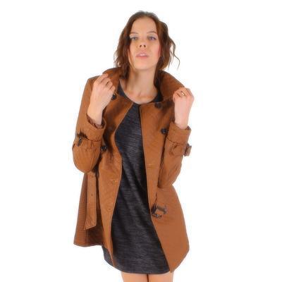 Luxusné prešívaný hnedý kabát Celest - 2