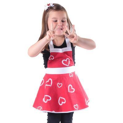 Dívčí červená zástěra Riana se srdíčky - 2