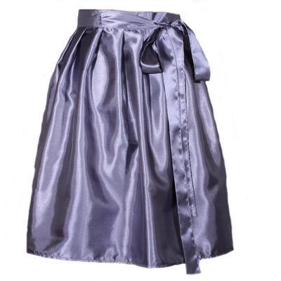 Tmavě šedá saténová zavinovací sukně Victorie - 2