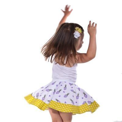 Dívčí bílá kolová sukně Leila s levandulemi - 2