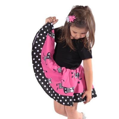Dívčí růžová kolová sukně Magda se zebrami - 2