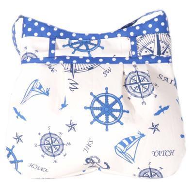 Modrá plátěná kabelka Ditta námořnický styl - 2
