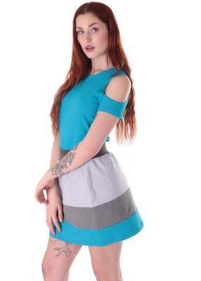 Modrošedá bavlněná sukně Olivie - 2
