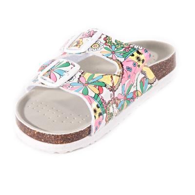 Dievčenské kvetované papuče Flover bielé - 2