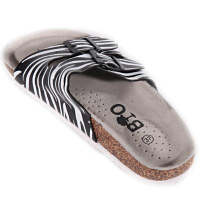 Pruhované papuče Erika čierne - 2