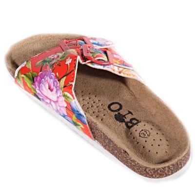 Červené korkové papuče Kvido s kvetmi - 2