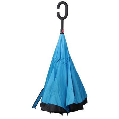 Obrácený jednobarevný deštník Lucas modrý - 2