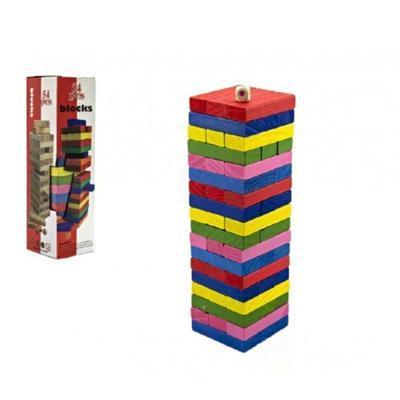 Hra Jenga barevné kostičky 54ks Pegy  - 2
