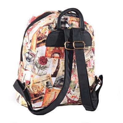Štýlový batoh s potlačou Paris ozanžový - 2