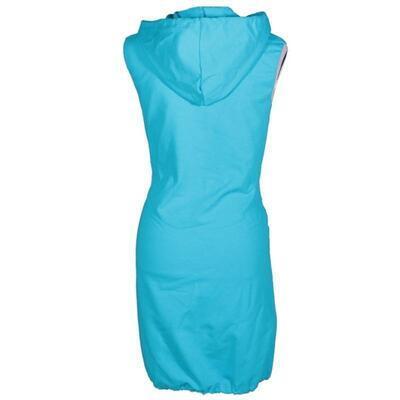 Dámská šatovka Wendy modrá s kapucí - 2