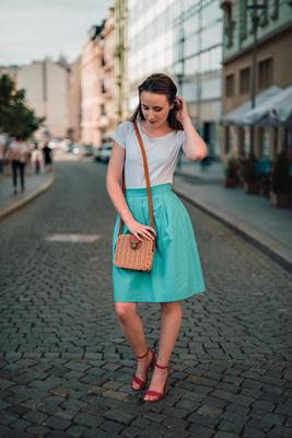 Tyrkysová zavinovací sukně Natalie bez potisku - 2