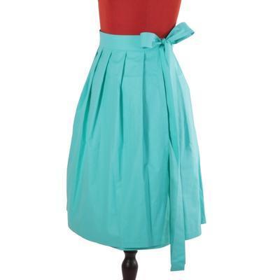 Tyrkysová zavinovací sukně Natalie bez potisku - 3
