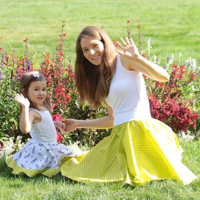 Dívčí bílá kolová sukně Leila s levandulemi - 3