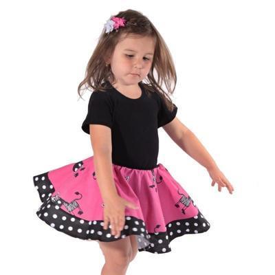 Dívčí růžová kolová sukně Magda se zebrami - 3