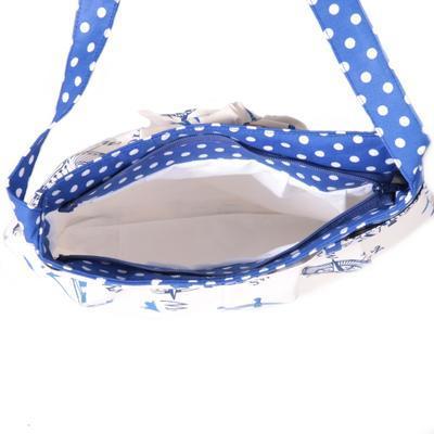 Modrá plátěná kabelka Ditta námořnický styl - 3