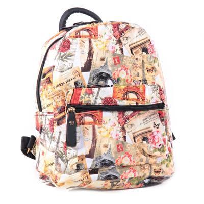 Štýlový batoh s potlačou Paris ozanžový - 3