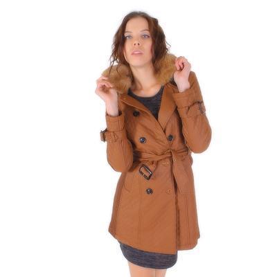 Luxusné prešívaný hnedý kabát Celest - 4