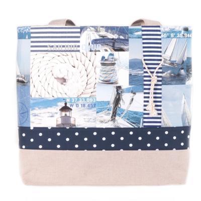 Modrá plátěná taška Chloe s mořským motivem - 4