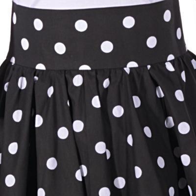 Černá sukně s pevným pasem Black s puntíky - 4