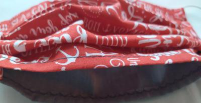 Bavlněná rouška pro dospělé na gumičky červená písmenka - 4