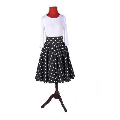 Černá sukně s pevným pasem Black s puntíky - 5